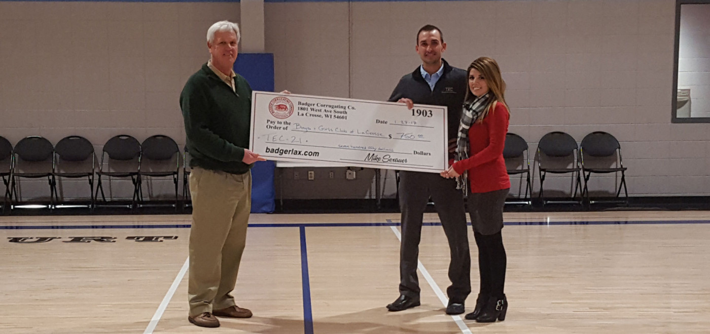 Badger Corrugating Co. & TEC21 makes donation to Boys & Girls Club